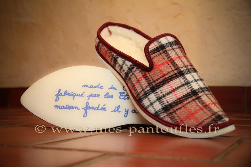 Babouches ecossais galon bordeaux - 9b007
