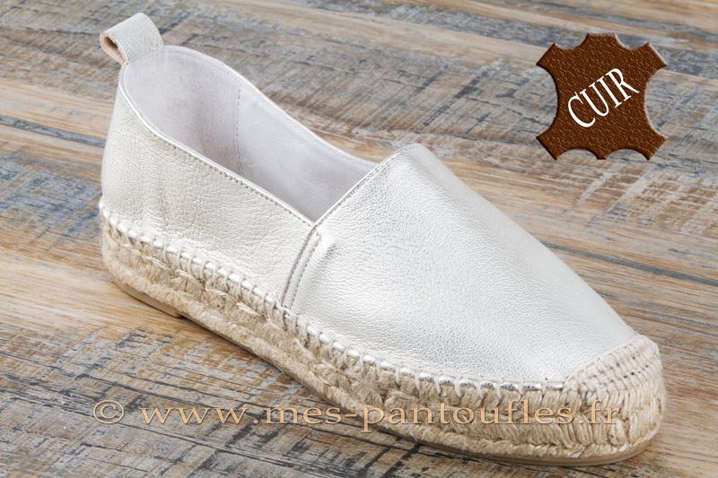 fast delivery on wholesale look good shoes sale Espadrilles semelle épaisse cuir perle nacrée pour femme