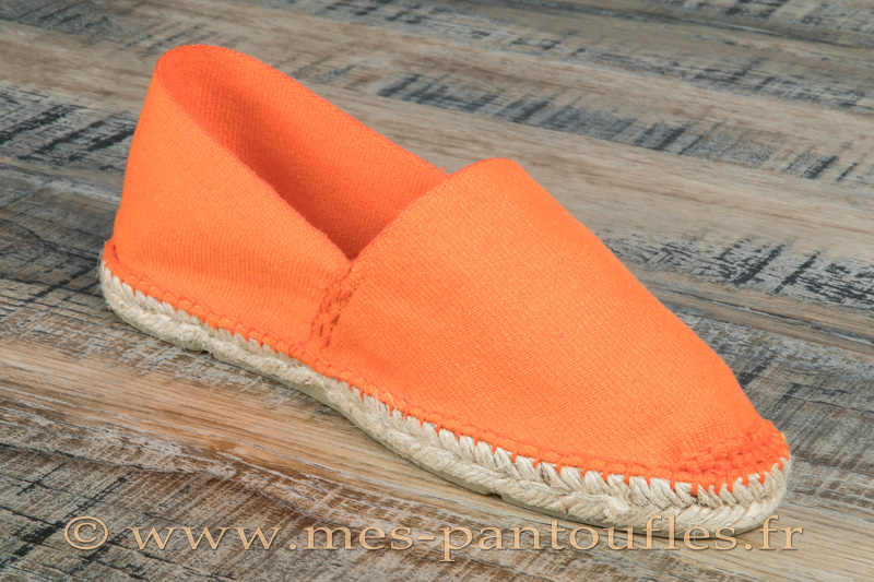 Espadrilles cousues main en toile orange - 9espt221