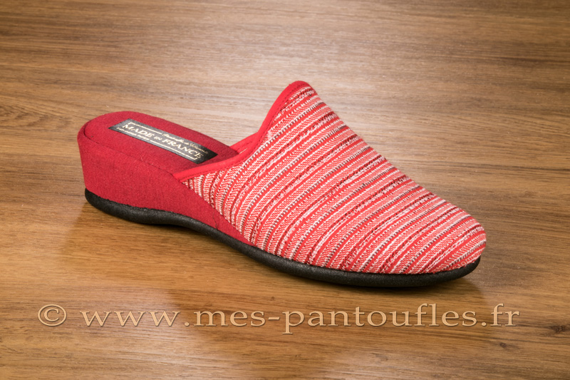 Mules à talon compensé tweed rouge - 9fer94