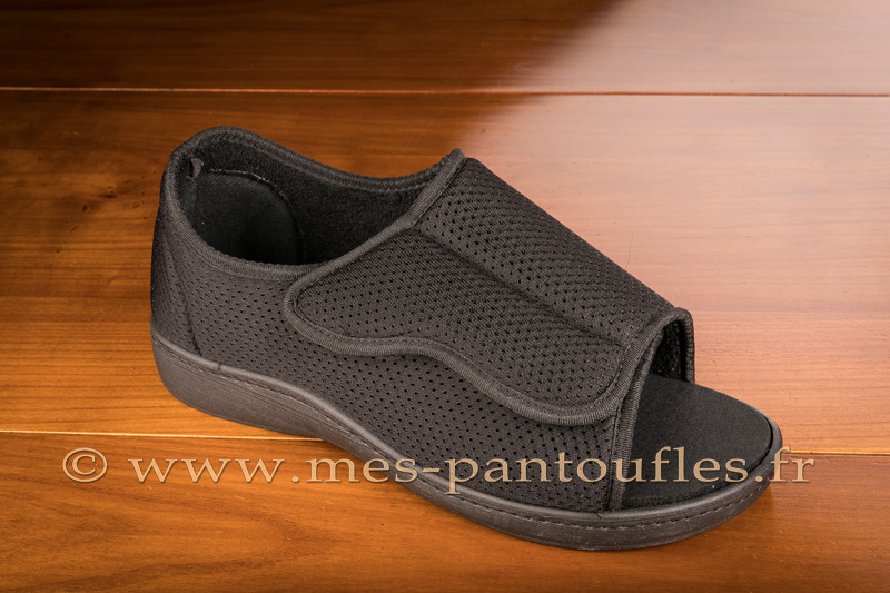 Chaussures grand confort noires à bout ouvert - 9ortho02