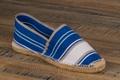 9espt209 Espadrilles cousues main en toile rayée bleu blanc gris <br>Pointure 45 à 21.90 EUR