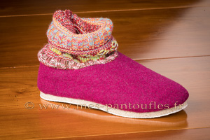 Charentaises montantes tricot cassis