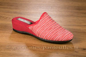 Mules à talon compensé tweed rouge