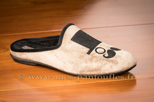Mules hommes velours beige/taupe