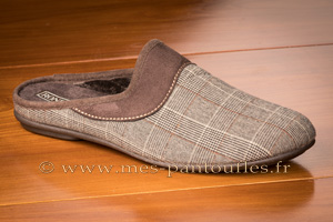 Mules hommes velours tweed marron