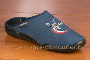 Mules hommes décor rugby velours