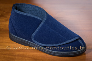 Chausson scratch grand confort velours bleu