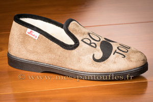Charentaises hommes velours beige/taupe Bonjour