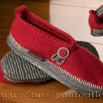 Chaussons giesswein rouge et gris - 9gies07
